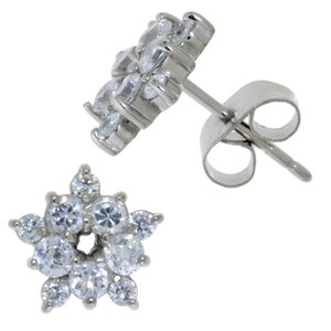 Earrings Stainless Steel zirconia Flower