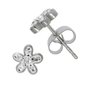 Earrings Stainless Steel Crystal Flower