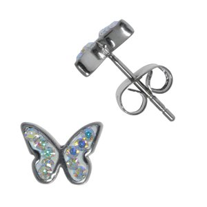 Kids earrings Surgical Steel 316L Crystal Butterfly