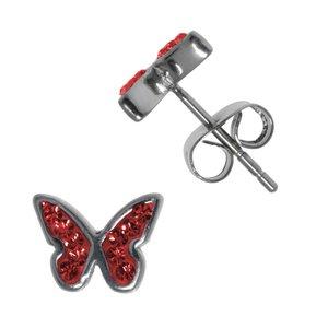 Kinder Ohrringe Chirurgenstahl 316L Kristall Schmetterling Sommervogel