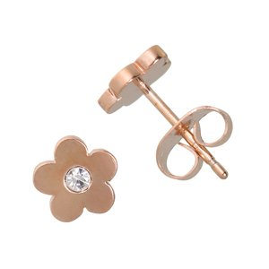 Earrings Stainless Steel Crystal PVD-coating (gold color) Flower