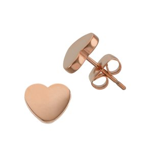 Ohrstecker Chirurgenstahl 316L PVD Beschichtung (goldfarbig) Herz Liebe