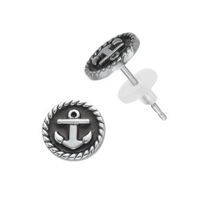 Earrings Stainless Steel Black PVD-coating PVC Anchor