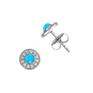 Earrings Stainless Steel Synthetic opal zirconia