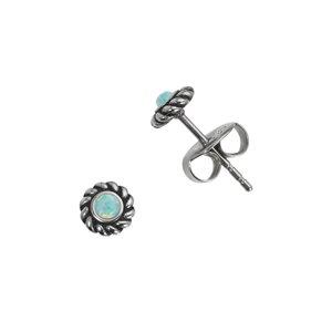 Orecchini Acciaio inox Synthetic opal Spirale