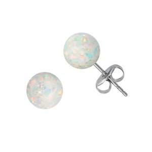 Earrings Stainless Steel Synthetic opal PVC