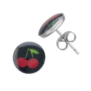 Earrings Stainless Steel Epoxy Cherry