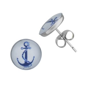Earrings Stainless Steel Epoxy Anchor