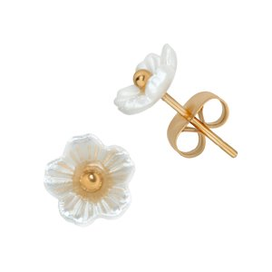 Earrings Stainless Steel PVD-coating (gold color) Resin Flower