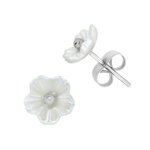 Earrings Stainless Steel Resin Flower
