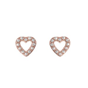 Earrings Stainless Steel PVD-coating (gold color) Crystal Heart Love