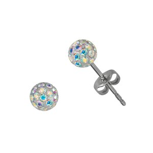 Earrings Stainless Steel Surgical Steel 316L Crystal Epoxy PVC