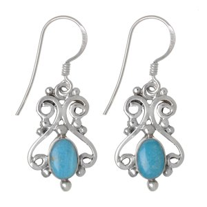 Dangle earrings Silver 925 Turquoise Tribal_pattern