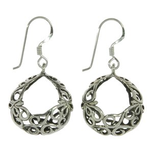 Dangle earrings Silver 925 Tribal_pattern Spiral Wave
