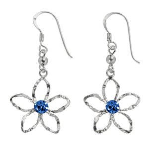 Dangle earrings Silver 925 Crystal Flower