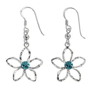 Dangle earrings Silver 925 Crystal Flower