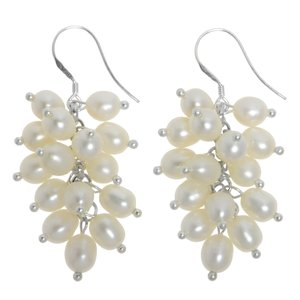 Earrings Silver 925 Fresh water pearl Drop drop-shape waterdrop
