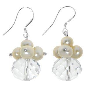 Orecchini Argento 925 Perle di acqua dolce Cristallo Goccia Forma_di _goccia
