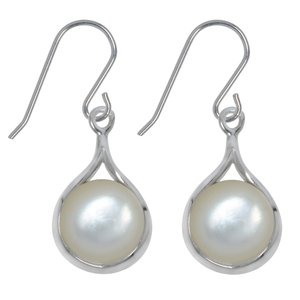Dangle earrings Silver 925 rhodanized Mother of Pearl Drop drop-shape waterdrop