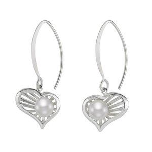 Orecchini Argento 925 Perle di acqua dolce Cuore Amore