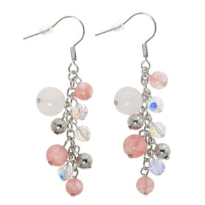 Dangle earrings Surgical Steel 316L Crystal Rose quartz PVC