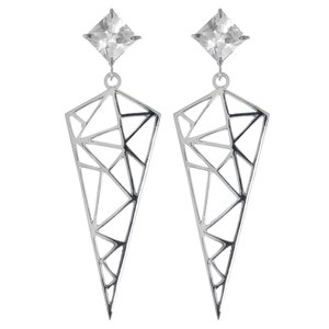 Earrings Surgical Steel 316L zirconia PVC Triangle
