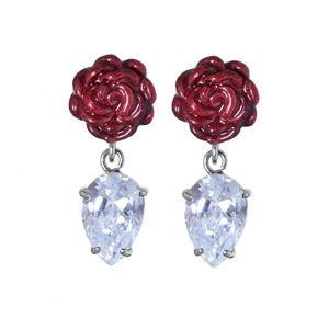 Earrings Stainless Steel Surgical Steel 316L zirconia PVC Rose Flower Drop drop-shape waterdrop