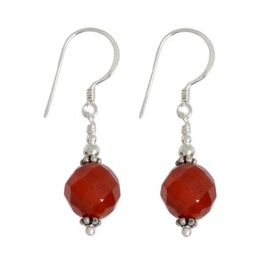 Dangle earrings Silver 925 Red Onyx