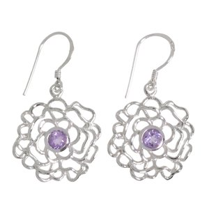 Dangle earrings Silver 925 Amethyst Flower Rose