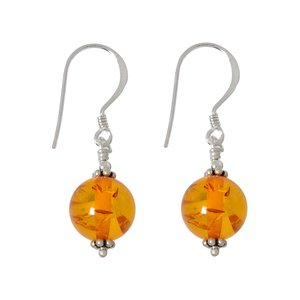 Dangle earrings Silver 925 Synthetic amber