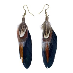 Dangle earrings Goose feathers Brass PVD-coating (gold color) Feather