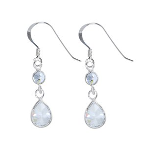 Dangle earrings Silver 925 zirconia Drop drop-shape waterdrop