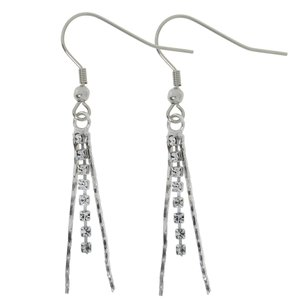Dangle earrings Rhodium plated brass Crystal
