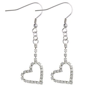 Dangle earrings Rhodium plated brass Crystal Heart Love