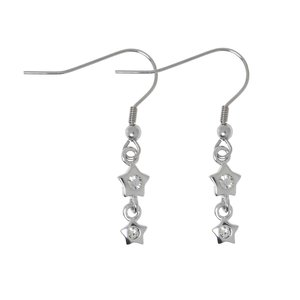 Dangle earrings Rhodium plated brass Crystal Star