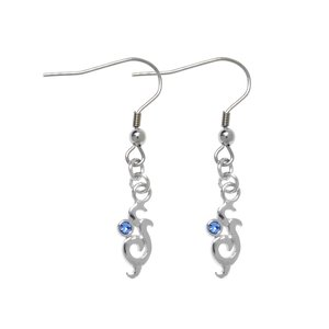 Dangle earrings Rhodium plated brass Crystal Tribal_pattern