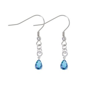 Dangle earrings Rhodium plated brass zirconia Drop drop-shape waterdrop