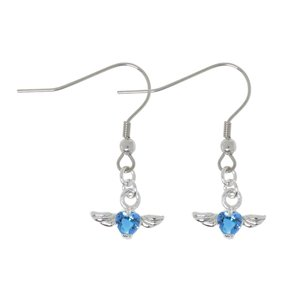 Dangle earrings Rhodium plated brass zirconia Heart Love Wings