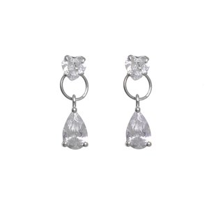 Earrings zirconia Heart Love Drop drop-shape waterdrop
