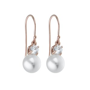 Earrings Silver 925 Synthetic Pearls zirconia Gold-plated
