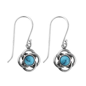 Dangle earrings Silver 925 Turquoise Flower