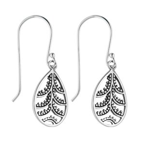 Dangle earrings Silver 925 Leaf Plant_pattern Drop drop-shape waterdrop