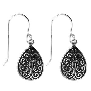 Dangle earrings Silver 925 Drop drop-shape waterdrop Tribal_pattern Leaf Plant_pattern