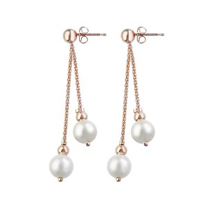 Ohrringe Silber 925 PVD Beschichtung (goldfarbig) Synthetische Perle