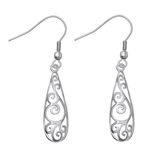Dangle earrings Stainless Steel Drop drop-shape waterdrop Leaf Plant_pattern Wave