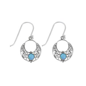 Dangle earrings Synthetic opal Silver 925 Heart Love Tribal_pattern