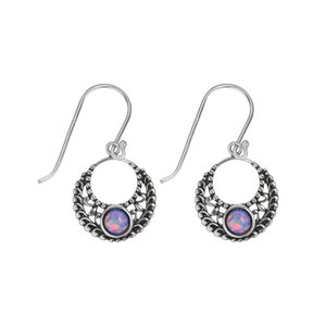 Dangle earrings Synthetic opal Silver 925 Tribal_pattern