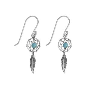 Dangle earrings Silver 925 Turquoise Feather