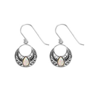 Dangle earrings Synthetic opal Silver 925 Drop drop-shape waterdrop Tribal_pattern