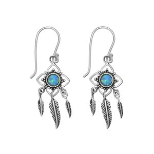 Dangle earrings Synthetic opal Silver 925 Feather Flower